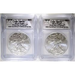 2-2014 SILVER EAGLES, ICG MS-70 1st DAY OF ISSUE
