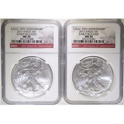 2-2011 25th ANNIVERSARY SILVER EAGLES, NGC MS-70