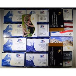 U.S. QUARTER PROOF SETS; 1999, 2000,