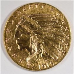 1915 $2.50 GOLD INDIAN, AU -CLEANED