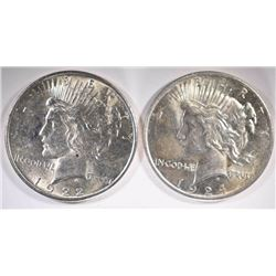 1922 & 1924 PEACE DOLLARS - CHOICE BU