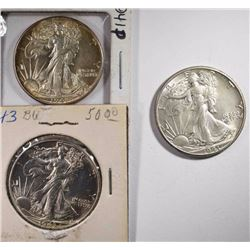 3 CH BU WALKING LIBERTY HALVES 2 1941, 43