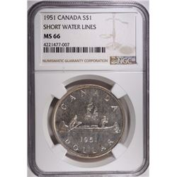 1951 CANADA SILVER DOLLAR, SHORT WATER LINES,