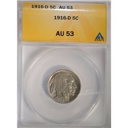 1916-D BUFFALO NICKEL ANACS AU-53