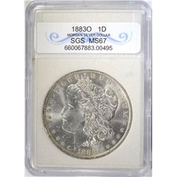 1883-O MORGAN DOLLAR SGS SUPERB GEM BU