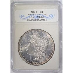 1891 MORGAN DOLLAR SGS SUPERB GEM BU