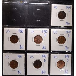 1939-S & 1940-73 GEM BU LINCOLN CENTS IN ALBUM
