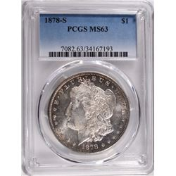 1878-S MORGAN DOLLAR PCGS MS63