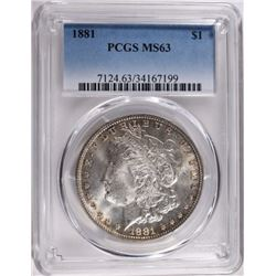 1881 MORGAN DOLLAR PCGS MS63