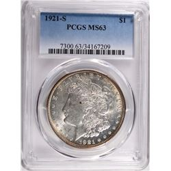 1921-S MORGAN DOLLAR PCGS MS63