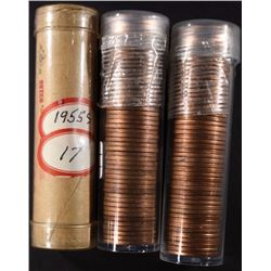 1945 & 2-1955-S BU LINCOLN CENT ROLLS