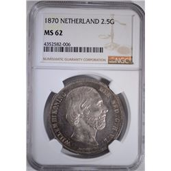 1870 SILVER 2.5G NETHERLAND NGC MS62