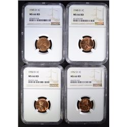 LINCOLN CENTS 1945-D, 48-D, 50-D, 52-D NGC MS66 RD