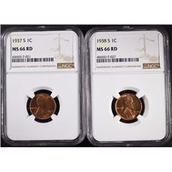 1937-S & 38-S LINCOLN CENTS, NGC MS-66 RED