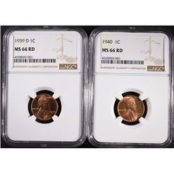 1939-D & 40 LINCOLN CENTS, NGC MS-66 RED