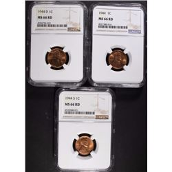 1944 P, D, & S LINCOLN CENTS, NGC MS66 RD