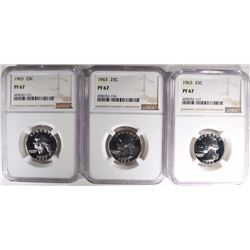 3-1963 WASHINGTON QUARTERS, NGC PF67