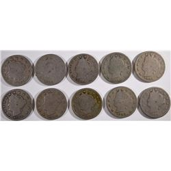 "10- LIBERTY ""V"" NICKELS 1884 & 9-1888 GOODs"