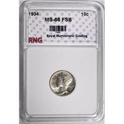 1934 MERCURY DIME RNG SUPERG GEM FSB