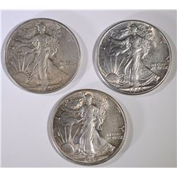 1941-S & 2-1945 WALKING LIBERTY HALVES, AU