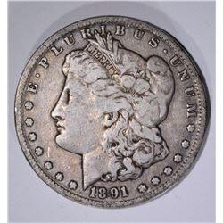 1891-CC MORGAN DOLLAR, FINE