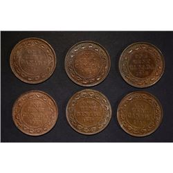 6-CANADIAN LARGE CENTS, AU/BU
