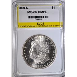 1880-S MORGAN DOLLAR, LVCS GEM BU DMPL