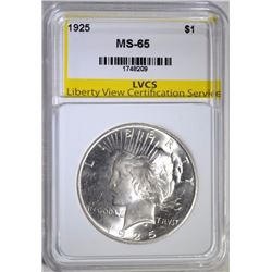 1925 PEACE DOLLAR, LVCS GEM BU