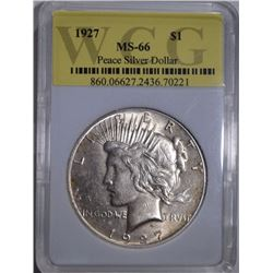 1927 PEACE DOLLAR, WCG SUPERB GEM BU