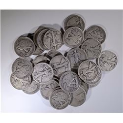30-CIRC SILVER WALKING LIBERTY HALF DOLLARS