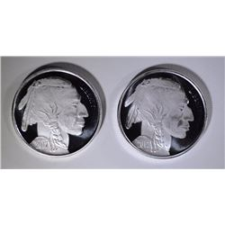 2-ONE OUNCE ,999 SILVER BUFFALO ROUNDS
