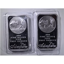 2-FIVE OUNCE .999 SILVER BARS, SILVERTOWNE