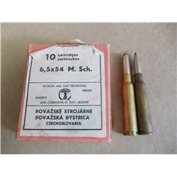 6.5 X 54 M. Sch CARTRIDGES, MADE IN CZECHOSLOVAKIA