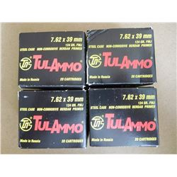 TULAMMO 7.62 X 39 MM 124 GR FMJ MADE IN RUSSIA
