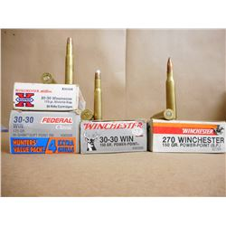 ASSORTETD LOT OF 30-30 WIN/270 WIN RELOAD AMMO