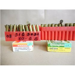 ASSORTED LOT OF 243 WIN RELOAD AMMO ( 40 RNDS IN PLASTIC HOLDERS)