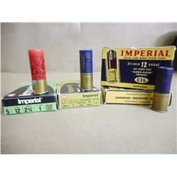ASSORTED IMPERIAL 12 GA X 2 3/4 SHOT SHELLS INCL. MAGNUM, LR SLUGS  IN ANTIQUE BOXES