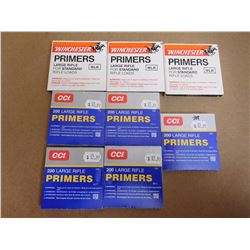 ASSORTED LOT OF LARGE RIFLE PRIMERS INCLUDING CCI 200 AND WINCHESTER WLR