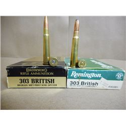 ASSORTED LOT OF .303 BRITISH INCLUDING BROWNING, REMINGTON