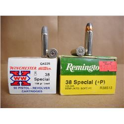 ASSORTED LOT OF 38 SPL INCL. REMINGTON AND WINCHESTER