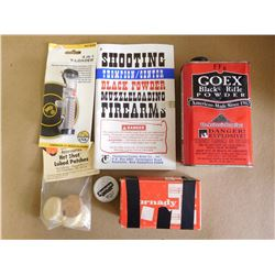 ASSORTED LOT INCLUDING GOEX BLACK RIFLE POWDER, HORNADY .535 LEAD BALLS T-LOADER,