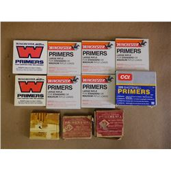 ASSORTED LOT OF PRIMERS INCL WINCHESTER LARGE RIFLE , CENTER FIRE # I08, CCI 209 SHOT SHELLS AND VAR