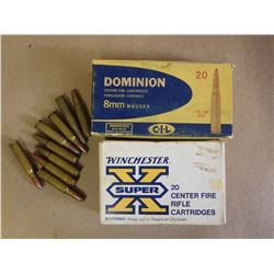 ASSORTED LOT OF 8MM MAUSER AND .300 SAVAGE