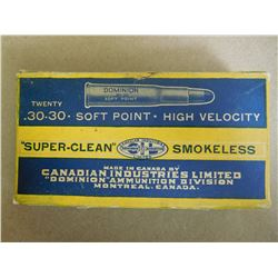 DOMINION SUPER CLEAN .30-30 SOFT POINT HIGH VELOCITY SMOKELESS