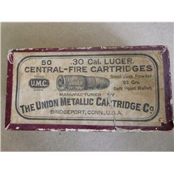 UMC .30 CAL LUGER CENTRAL-FIRE CART SMOKELESS POWER, FACTORY SEALED