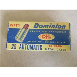 DOMINION CIL .25 AUTOMATIC 50GR METAL CASED