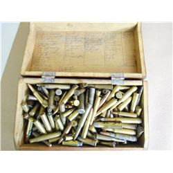 ANTIQUE WOODEN BOX WITH RIFLE AMMO INCLUDING 22 HORNET, 2085, 35 REM, 303 SAVAGE,44-40,38-40, 50-110