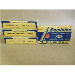 CIL DOMINION 222 REMINGTON CASINGS IN ANTIQUE BOXES