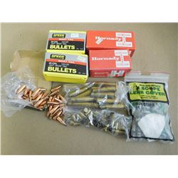 ASSORTED LOT OF LEAD BULLETS AND BALLS INCL. 25 CAL SPEER, HORNADY .490 AND .570 LEAD BALLS 30 CAL B