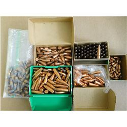 ASSORTED LOT OF BULLETS INCL SIERRA/HORNADY/NOSLER .30 CAL, .30 SPRINGFIELD AND 22 CAL HORNET AND AS